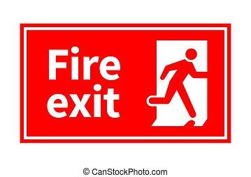 emergência, sinal fogo, executando, saída, branco vermelho,...