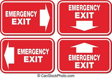 emergência, -, sinal, saída assina, vermelho