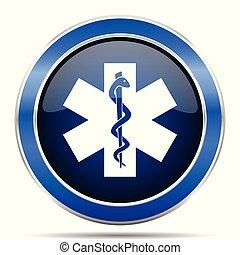 emergência, vetorial, icon., modernos, desenho, azul, prata, metálico, lustroso, teia, e, móvel, aplicações, botão, em, eps, 10