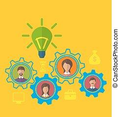 Emergence new creative idea, concept of effective teamwork -...