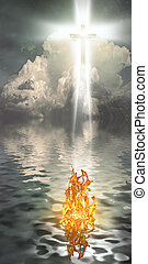 Emergence - Cross Hangs in Sky over Water with Fire Burning...