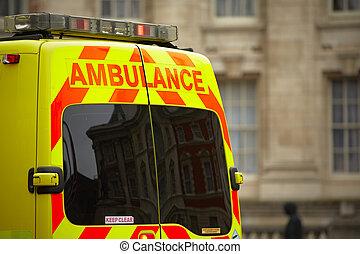 emergencia, ambulancia, coche