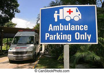 emergencia, ambulancia, estacionamiento