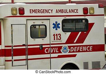 emergencia, ambulancia, vehículo del rescate