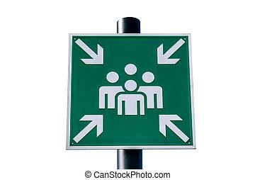 emergencia, asamblea, punto, verde, señal