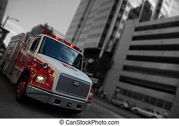emergencia, camión de fuego