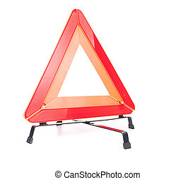 emergencia, coche, aislado, señal, plano de fondo, blanco