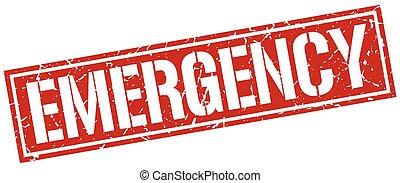emergencia, cuadrado, grunge, estampilla