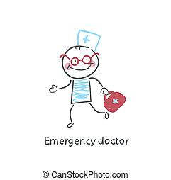 emergencia, doctor, corre
