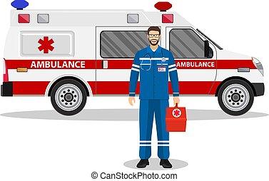 emergencia, doctor, hombre, y, ambulancia, coche