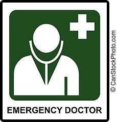 emergencia, doctor, símbolo, en, pegatina, etiqueta, para, público, lugares