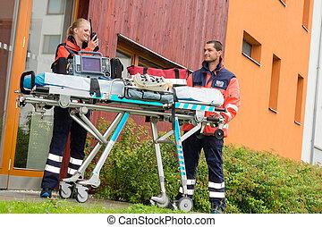 emergencia, doctor, visita casera, llamada, radio, ambulancia