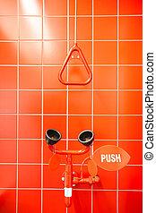 emergencia, ducha, y, ojo, ducha, y, fregadero
