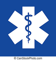 emergencia, estrella, blanco, en, azul, fondo.