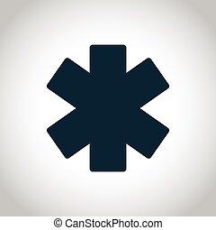 emergencia, estrella, icono