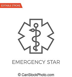 emergencia, estrella, vector, icono