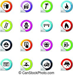 emergencia, iconos, conjunto