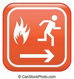 emergencia, inocuidad de fuego, señal