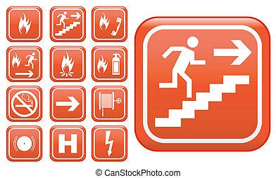 emergencia, inocuidad de fuego, señales