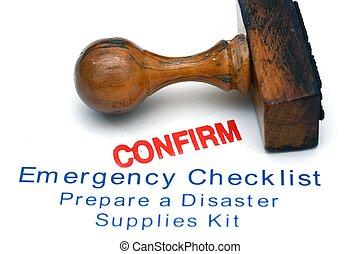 emergencia, lista de verificación, -, confirmar