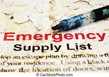 emergencia, lista de verificación