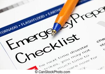 emergencia, lista de verificación, y, bolígrafo