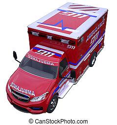 emergencia, llamada, y, 911:, ambulancia, furgoneta, aislado, blanco
