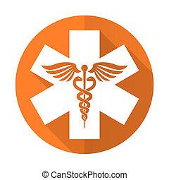 emergencia, naranja, plano, icono, hospital, señal