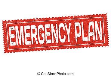 emergencia, plan, señal, o, estampilla