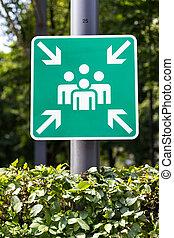 emergencia, punto de la reunión, señal