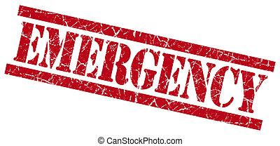 emergencia, rojo, grungy, estampilla, aislado, blanco, plano de fondo
