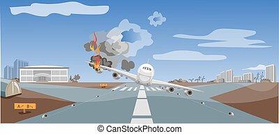 emergencia, situación, choque, avión, aire, crítico, ...