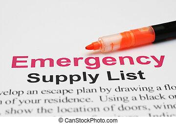 emergencia, suministro, lista