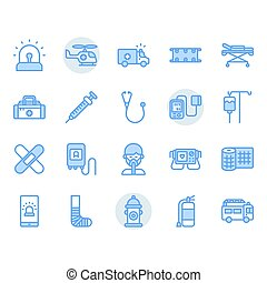 Emergencies related icon and symbol set