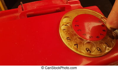 Emergency 911 Call From Vintage Landline Rotary Telephone From 1980's, Close Up 4k footage
