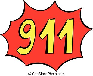 Emergency 911 icon, icon cartoon