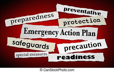 Emergency Action Plan Newspaper Headlines Prepared Ready 3d Illustration