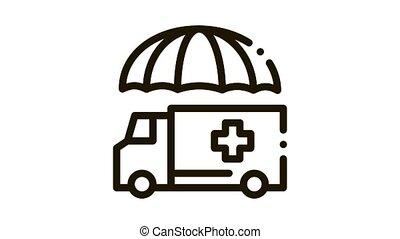 emergency ambulance car Icon Animation. black emergency ambulance car animated icon on white background