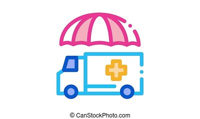 emergency ambulance car Icon Animation. color emergency ambulance car animated icon on white background