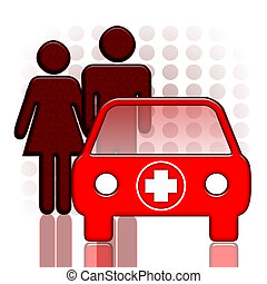 Emergency Ambulance - Doctor, nurse and red medical car over...