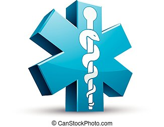 Emergency ambulance medicine symbol, 3d vector icon.