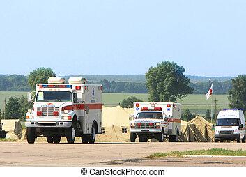 Emergency ambulance driving fast