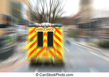 Emergency ambulance with zoom effect - Speeding ambulance in...