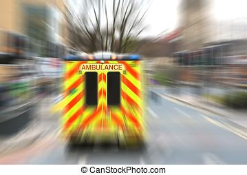 Emergency ambulance with zoom effect - Speeding ambulance in...
