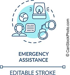 Emergency assistance concept icon. Foreign country citizens ...