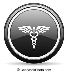 emergency black circle glossy web icon