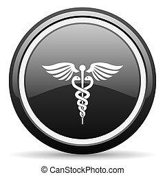 emergency black circle glossy web icon