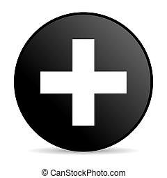 emergency black circle web glossy icon