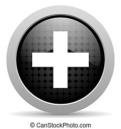 emergency black circle web glossy icon