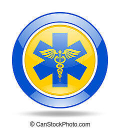emergency blue and yellow web glossy round icon